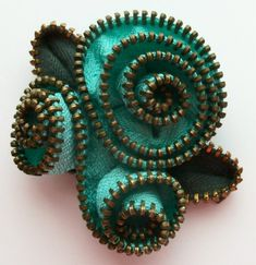 Aqua Abstract Floral Brooch / Zipper Pin by ZipPinning 3147 by ZipPinning on Etsy