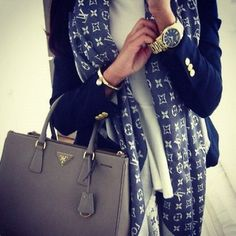 Louis scarf, Prada bag, navy blazer CLICK THE PIC and Learn how you can EARN MONEY while still having fun on Pinterest