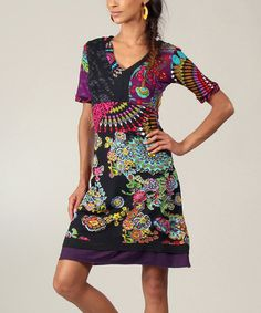 Look what I found on #zulily! Black & Pink Abstract Empire-Waist Dress by Aller Simplement #zulilyfinds