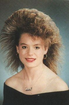Can you imagine how much hair spray she used daily? Had a group of girls that did this every day.
