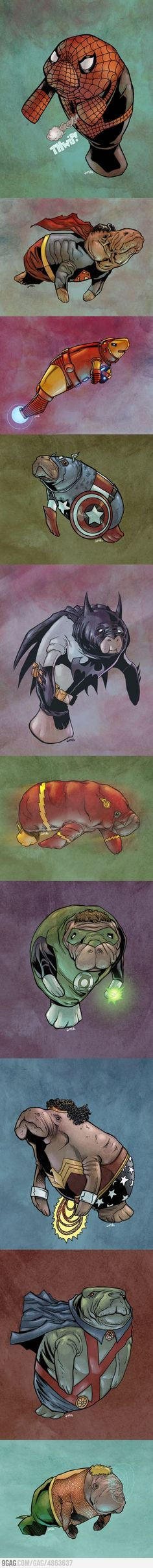 Superheroes as Manatees #superheros #manatees