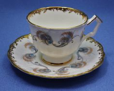 AYNSLEY Crocus Tea Cup and Saucer Set, Blue Peacock Feather Tea Cup, Beige Swirl Teacup, Vintage Tea Cups, Made in England, Fine Bone China by Thinkilikeit on Etsy