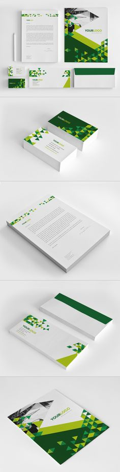 Green Triangles Stationery. Download here: http://graphicriver.net/item/green-triangles-stationery/7003619?ref=abradesign #design #stationery