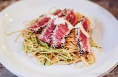Reckless Abandon: Seared Ahi Tuna on a Bed of Zucchini Ribbons and Whole Wheat Pasta with Spicy Sauce