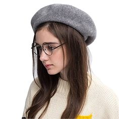 900d68eb381f6 Klong Wool Beret Hat French Style Women Solid Color Thick... https