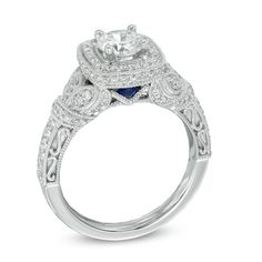 Vera Wang LOVE Collection 1-1/4 CT. T.W. Diamond Frame Vintage-Style Engagement Ring in 14K White Gold