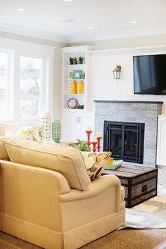 Built ins & wood above fireplace - House of Turquoise: Highland Custom Homes