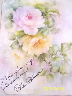 CHINA-PAINTING-STUDY-HELEN-HUMES-61-PINK-YELLOW-ROSES