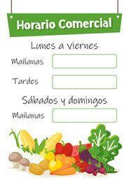Horario comercial para fruterías - Cartel Gratis🍒🍓🍑🥑🕖🕓 #Fruteria #Horario #comercio #tienda #Verduleria #frutas #verduras #vegetales #local #almacen #mercado #super #supermercado Fresh Market, Salads, Supermarket Design
