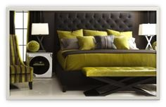 Chartreuse and Charcoal Bedroom