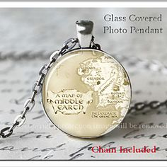 Lord of the Rings Middle Earth Map Inspired Glass Photo Pendant Silver Necklace by ChicBridalBoutique on Opensky