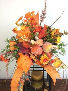 Fall Lantern Swag w Pumpkins Flowers by SouthernCharmWreaths