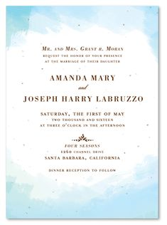 Watercolor Wedding Invitation on plantable paper ~ In the Clouds by ForeverFiances Weddings - Clear skies in sunny San Diego.