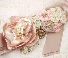 Bridal Sash  Julie with Satin Handmade Flowers Czech by SolBijou, $145.00