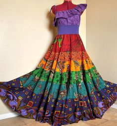 Rainbow Rhyme Long Ethnic Bohemian Gown Ooak by Barefoot… Bohemian Gown, Bohemian Style Clothing, Boho, Garba Dress, Love Fashion, Fashion Outfits, Fashion Hacks, African Maxi Dresses, Gypsy Women