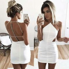 Jul 2019 - Custom Made White Mini Sheath Dress, Homecoming Dress, Formal Dresses, Wedding Dresses on Luulla Backless Homecoming Dresses, Mini Prom Dresses, Hoco Dresses, Prom Dresses For Sale, Event Dresses, Sexy Dresses, Cute Dresses, Formal Dresses, Wedding Dresses