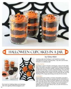 Halloween Cupcakes in a Jar  I will have to do this for Moe's bday this year.