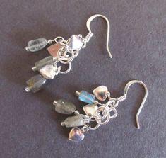 Labradorite Silver Hearts Earrings, Labradorite Nuggets, Tiny Silver Plate Hearts, Pierced Earrings, Balancing Jewelry, Harmony & Confidence