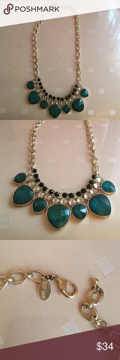 White House Black Market necklace TODAY Only ❤️ Gorgeous emerald green with clear stones along with black stones. Gold tone cable chain. Pic shown is on the last link. Is adjustable to any length you want. I have the matching bracelet. Check it out! White House Black Market Jewelry Necklaces