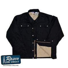 9216b7376132 Rasco FR Heavy Black Duck Coat BLHC2426 Cold Weather Heavy Coat Hooded  Jacket