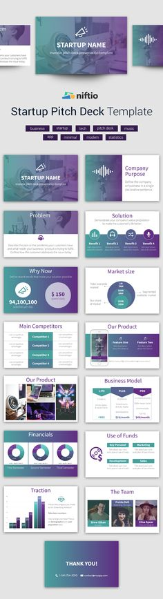 Designer made presentation template fit for startups or product launches