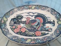 Extremely Rare Blue Turkey Platter Made in Japan (S255)