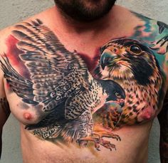 Peregrine Falcon - tattoo by Mark Bester