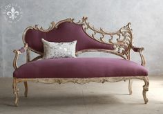 Breathtaking Italianate style Settee in dusky-violet fabric. Wonderful worn finish with tracse of white back to the wood frame.