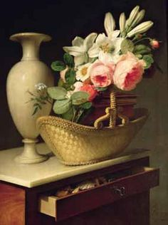 Oil Paintings Production:Antoine Berjon - Bouquet of Lilies and Roses in a Basket