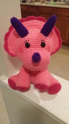 Crochet Triceratops Amigurumi Pink dinosaur for a girl ------------ just because it's cute!