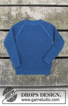 Perkins / DROPS Children 30-9 - Stickad tröja med falsk patent och raglan till barn. Storlek 2 - 12 år. Arbetet är stickat i DROPS Baby Merino.