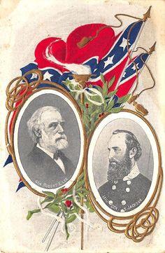 Confederate Gen Robert E. Lee & Leiu. Gen. Jackson Landsdorf Embossed Postcard
