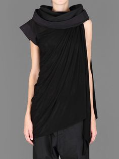 RICK OWENS SHORT SLEEVED ASYMMETRICAL TOGA WITH DRAPED FRONT  Antonioli Online Boutique