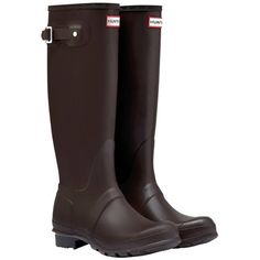Women's Hunter Original Tall Wellington Boots ($98) ❤ liked on Polyvore featuring shoes, boots, knee-high waterproof boots, hunter boots, wellington boots, waterproof rain boots and green knee high boots