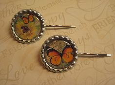 Beautiful Butterfly and Sunflower Hairpins by HairPINACHEbyTerry, $7.00
