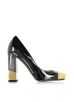 L'Autre+Chose+Black+and+Gold+Patent+Leather+Pump