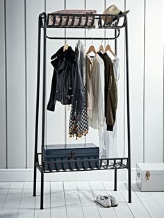 Industrial Iron Clothes Rail - Black - Storage Boxes, Clothes Rails & Ladders - Designer Furniture Collections - Luxury Home Furniture Modern Vintage Bedrooms, Vintage Bedroom Furniture, Luxury Home Furniture, Bedroom Vintage, Kitchen Furniture, Wooden Ladder Shelf, Industrial Irons, Industrial Style, Industrial Interiors