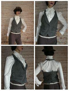 Ladies Grey Denim Waistcoat Size 12 Steampunk Victorian (F11) TOPSHOP   eBay