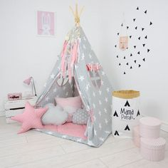 Teepee Set Kids Play Teepee Tent Tipi Kid Playhouse Wigwam Zelt Tente KIDS lamp glow READING SPOT with light- In My Imagination