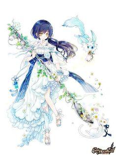 Girls in blue Art Kawaii, Loli Kawaii, Kawaii Anime Girl, Anime Art Girl, Manga Girl, Anime Girls, Anime Chibi, Me Anime, Manga Anime