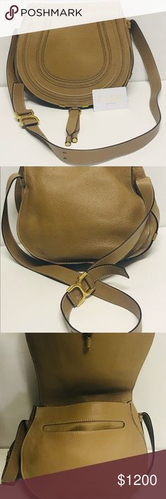 649c299b198cd3 Chloe Marcie Medium Sand Leather Crossbody Bag This bag was purchased at  Saks Fifth Ave.
