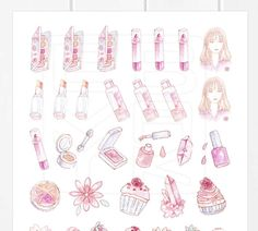A printable version of my romantic spring florals & makeup stickers. Hand-drawn watercolor illustrations of flowers, desserts and Korean beauty products in pink & soft rosy color. Inspired by Korean dramas (K-Drama), skincare and cute makeup products. These printables are perfect to mark makeup purchases or wishlists in your planner, mark spring outings in your diary, decorate journals for dates or picnics, or use them to decorate actual makeup products. Use them in your planner, diar...