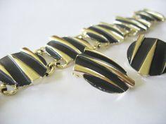 Striped Bracelet Earrings Gold Enamel Funky Retro Black 1980's Clip on