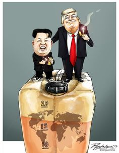 A light for peace: Trump Kim Summit, Singapore Editorial Cartoon by Antonio Rodriguez Garcia, from Mexico City, Mexico Funny Face Drawings, Funny Faces, Trump Cartoons, Political Cartoons, Orange Leader, Cartoon Faces, We The People, Donald Trump, Memes