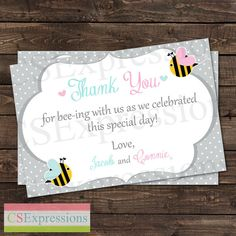 What Will it Bee Gender Reveal Baby Shower Thank You Card by CSExpressions