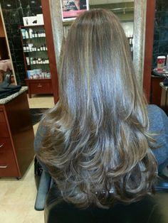 Long hair cut with layers by Leeza at Lifespa Schaumburg