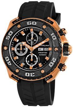 Stuhrling Prestige Men's 322A.33461 Prestige Swiss Made Automatic Valjoux 7750 Maverick Chronograph Multifunction Rose Tone Watch