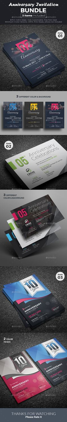 Anniversary Invitation Bundle  — PSD Template #modern #corporate • Download ➝ https://graphicriver.net/item/anniversary-invitation-bundle/18474224?ref=pxcr