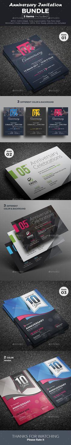 Anniversary Invitation Bundle  — PSD Template #modern #corporate • Download ➝ https://graphicriver.net/item/anniversary-invitation-bundle/18474224?ref=pxcr