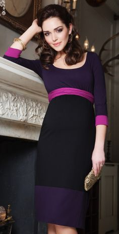 Colour Block Maternity Dress (Purple) - Maternity Wedding Dresses, Evening Wear and Party Clothes by Tiffany Rose.
